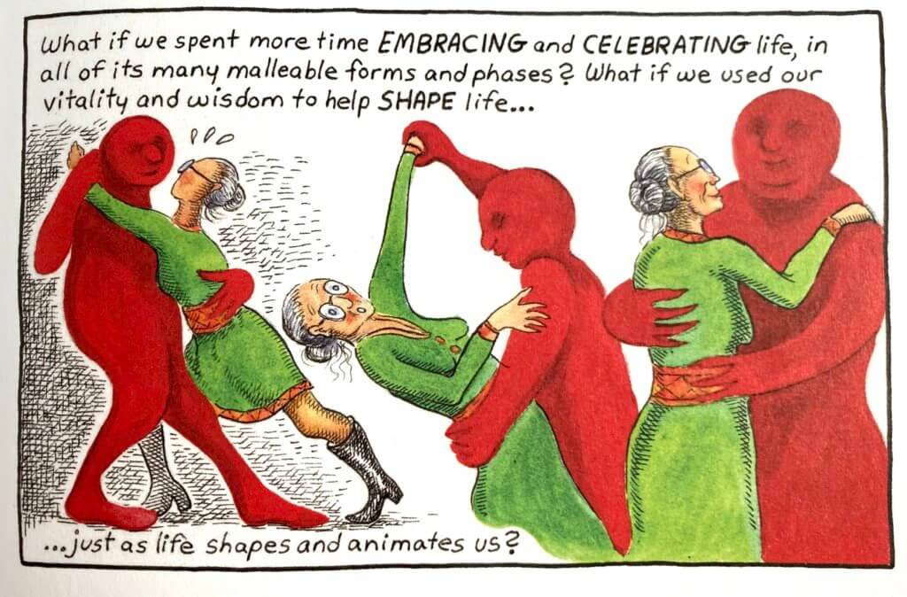 Panel by Burdock in Menopause A Comic Treatment edited by MK Czerwiec depicting a woman dancing with a red figure