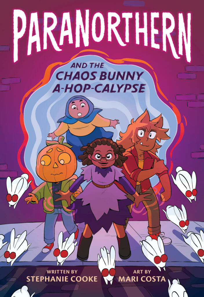 4 Paranormal children step out of a swirling portal, following little white bunnies with big read eyes