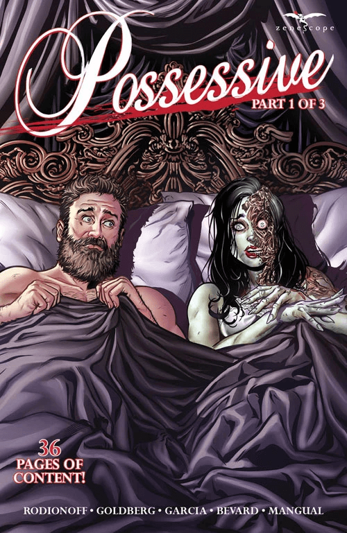 A drawing of a man and woman in bed beside each other with the covers pulled up to their chest. The man is looking fearfully at the woman. The woman is a ghost with a burn on one side of her face and a scared expression.