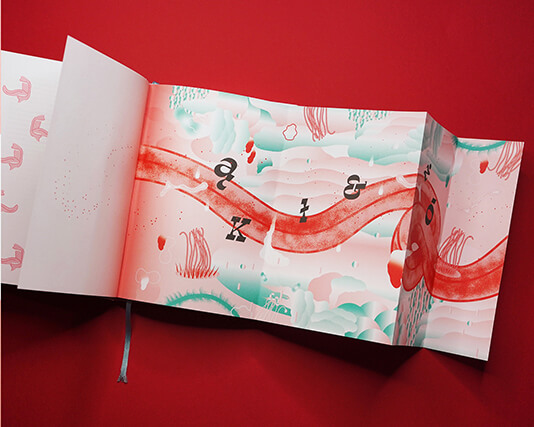 The foldout illustration by Burdzyńska - a red, twisting tongue dotted with letters from the Polish alfabet, surrounded by teal clouds.
