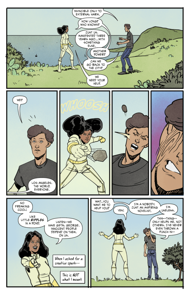 Panels from Ripple Effects where a brown-skinned woman with long black hair and a white supersuit callously torments a white-skinned man wearing jeans and a t-shirt, trying to test out her superstrength against his invulnerability.