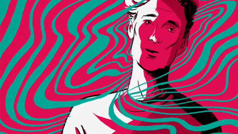 Rippling lines surround a man wearing a tired expression