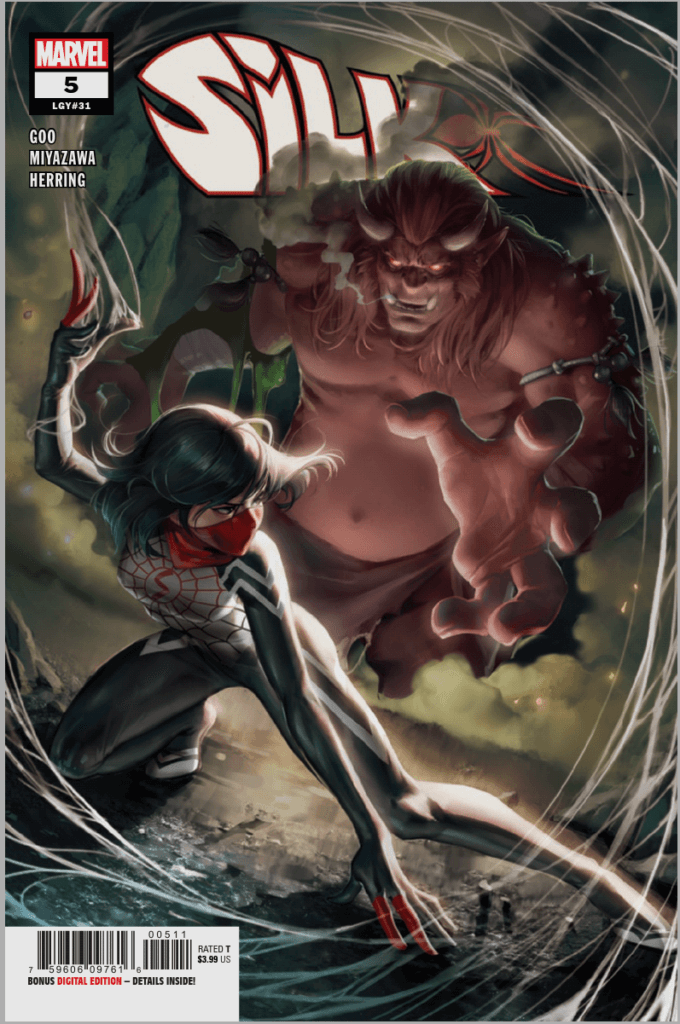 Silk crouched and staring at a giant demon god behind her, who is about to grab her