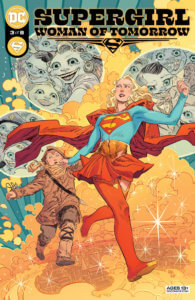 Supergirl and Ruthye running from laughing faces