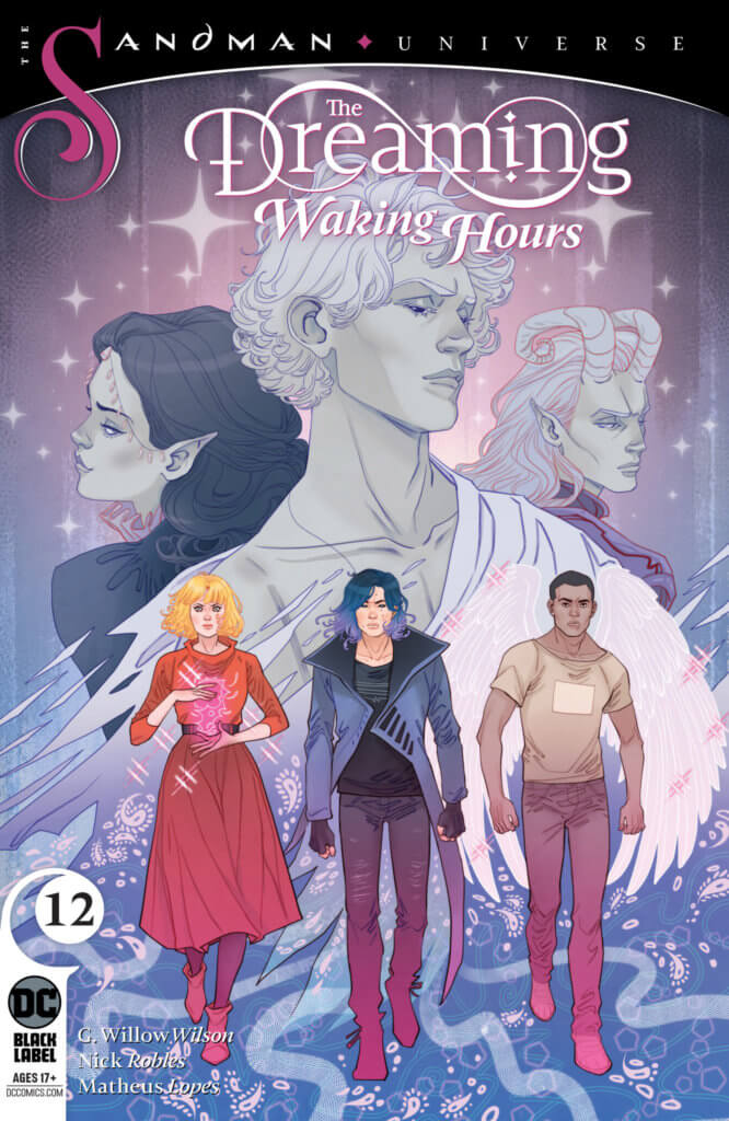 Heather After, Ruin and Jophiel triumphantly walking in front of a looming Titania, Dream and Auberon on the cover of The Dreaming: Waking Hours #12 by Marguerite Sauvage