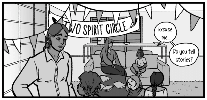 """People sit on couches and around a coffee table. A banner behind them reads """"Two Spirit Circle"""""""