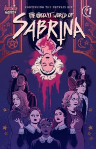 Sabrina Spellman, a white-haired teenager with wavy, shouler-length white hair, is suspended upside-down. She wears a black headband and black clothing, and there appears to be a wound of some sort upon her chest. That wound leaks a bloody miasma, which drops down to halo her hand and into the background behidn her. In a horseshoe-shaped configuration, her friends and relatives stand, backs to sabrina and eyes on the viewer. There are two golden panels with fancy designs to Sabrina's immediate right and left