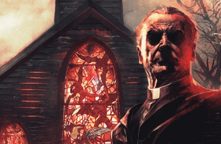 A drawing of a church of red stained glass windowd. A priest stands in the foreground in front of the church looking strern.
