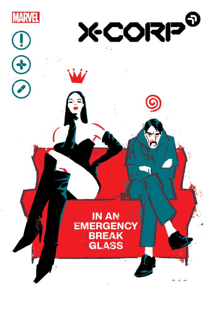 A tall woman in knee high black boots, panties, and a black corset and long gloves sits on a red couch beside a grumpy, slouching mustached man in a gray suit on the cover of X-Corp #4