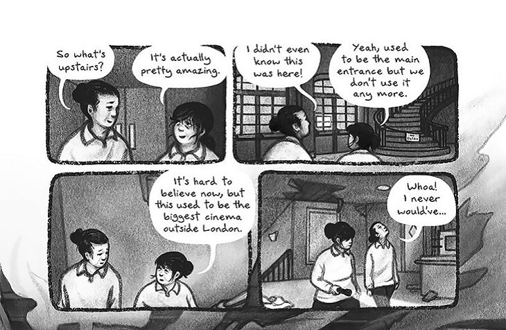 """Four panels, or the top half of a page of a comic. Two figures with ponytails speak in all four panels. Panel 1: """"So what's upstairs?"""" """"It's actually pretty amazing."""" Both speakers are in front of a door. Panel 2: """"I didn't even know this was here!"""" """"Yeah, used to be the main entrance but we don't use it anymore."""" They are looking at a staircase. Panel 3: """"It's hard to believe now, but this used to be the biggest cinema outisde of London."""" They walk. Panel 4: """"Whoa, I never would've..."""" Behind them, there are obvious signs of disrepair."""