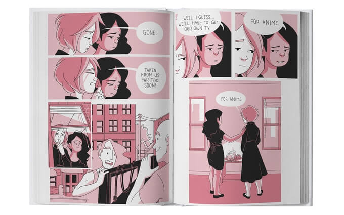 """A preview spread from the Girls Have a Blog print edition. Tara and Sarah watch something mournfully, bemoaning the short time they had together. The thing is quickly revealed to be a TV that a roommate is taking as they leave the apartment, and Tara and Sarah accept that they now need to buy their own TV """"for anime."""" Girls Have a Blog: Signature Edition, Sarah Bellinger and T. Kurtzhals, 2021"""