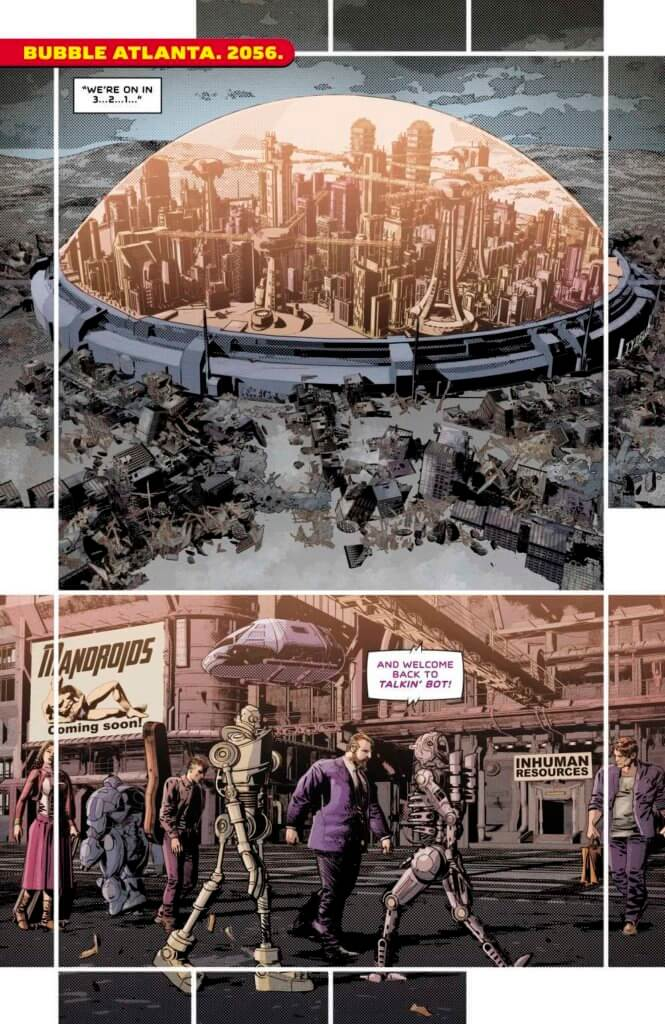 A view of a city in a large bubble, surrounded by ruins. In the next panel, we see humans and robots walking in the streets