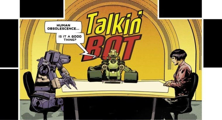 """Two robots sit around a table with a human woman with short hair. The sign above them reads """"Talkin' bot"""""""
