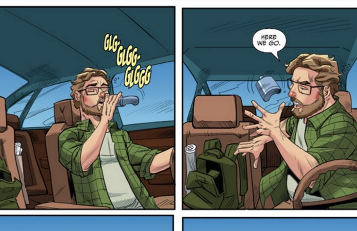 """Two panels from a comic - in the first, a white, middle-aged man with glasses is sitting in the driver's seat of a sedan, dringing from a flask, with """"glug"""" sound effects. His cheeks are pink from drinking. In the second panel, he tosses the flask into the back seat, saying """"Here we go."""""""