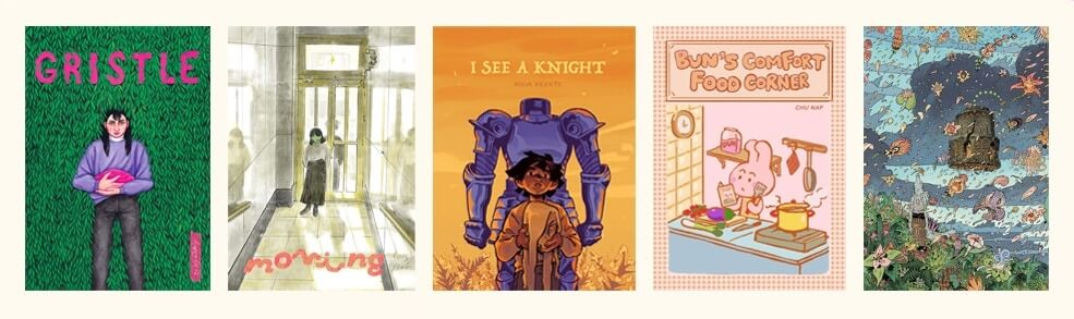 A banner displaying the covers of the five comics in this ShortBox: Gristle, Moving, I See a Knight, Bun's Comfort Food Corner, and Temple.