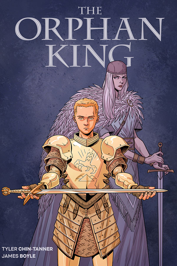 A young teenage boy in golden knight's armour holds out a sword across his palms. A woman with long white hair wearing a feathered cloak stands behind him