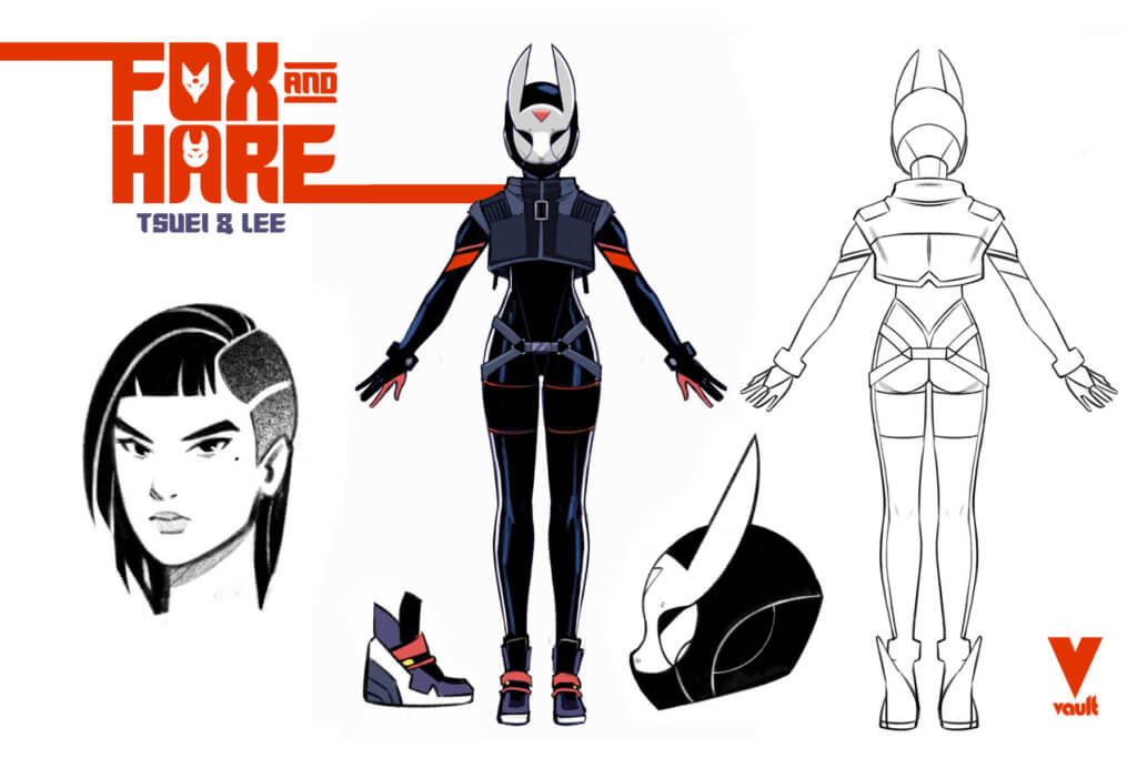 """Character designs for a cyberpunk """"Hare"""" character"""