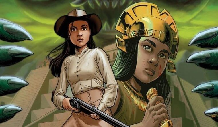 A young Indigenous girl with long black hair wearing old Western attire (blouse, long skirt, cowboy hat) holds a shotgun loosely in her hands. Behind her is an image of an Incan girl in a gold helmet, holding a lethal looking dagger