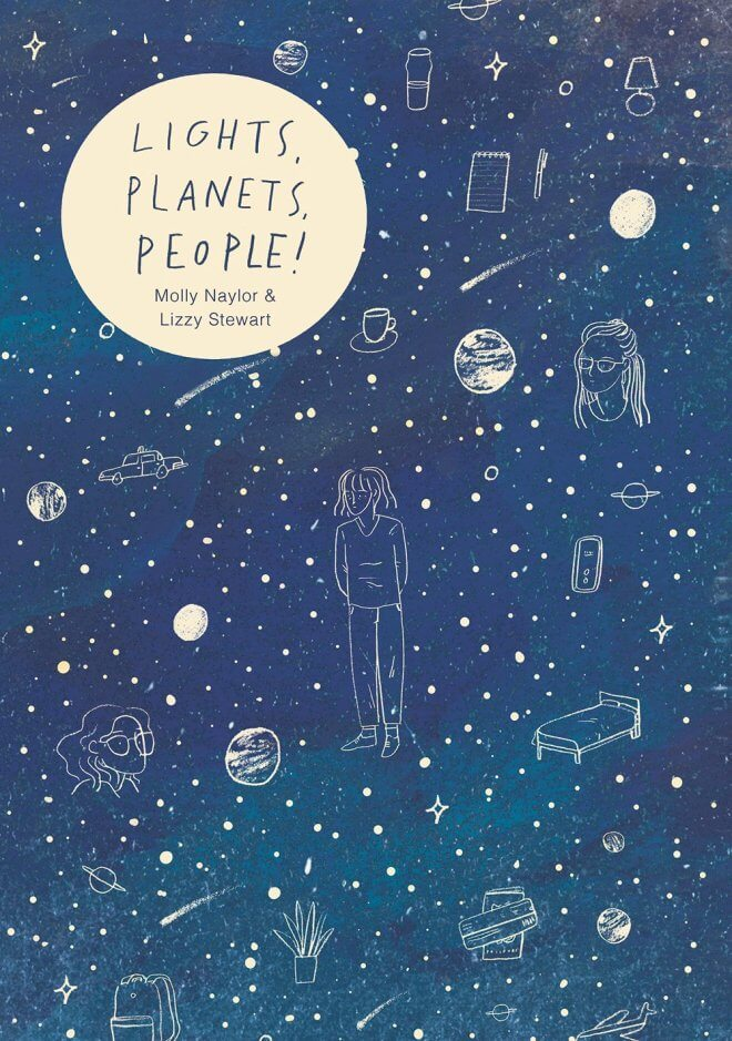 The worlds Lights, Planet, People! within a moon, surrounded by a night sky and stars and there are images of people in the sky