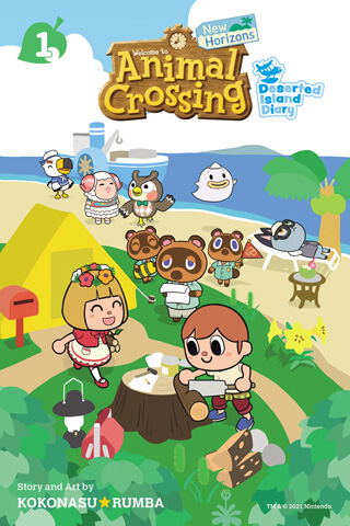 Cover of Animal Crossing New Horizons Manga volume 1 depicting the villagers and Tom Nook on the island.