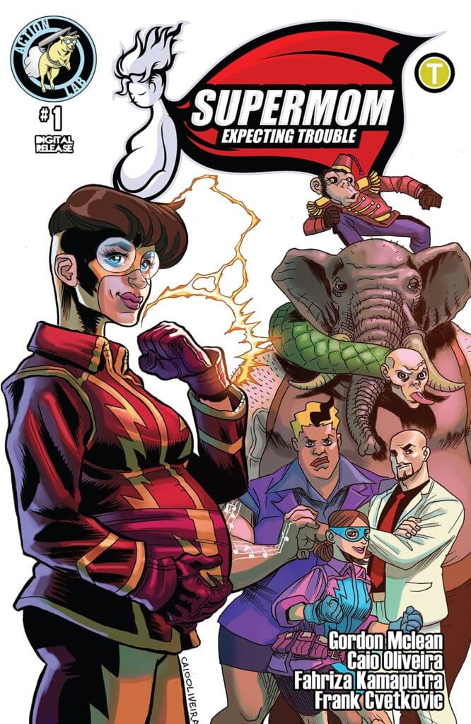 A pregnant superhero stands with her hand on her swollen belly. Several other characters are behind her, including one that looks like an elephant