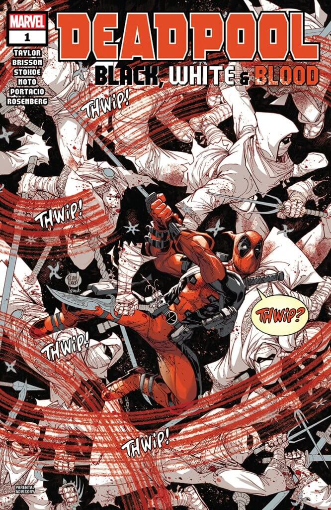 Wade Wilson, a white man in a full-body covering red and black suit with mask, wildly swinks a katana sword, killing many enemies who are wearing white uniforms. His slashes leave bright red blood twails in the air, and his motions are followed by sound effect word balloons reading 'thwip'. Wilson, a skeptical look on his face, echoes the sound effect aloud with a word balloon in red letters reading 'thwip?'