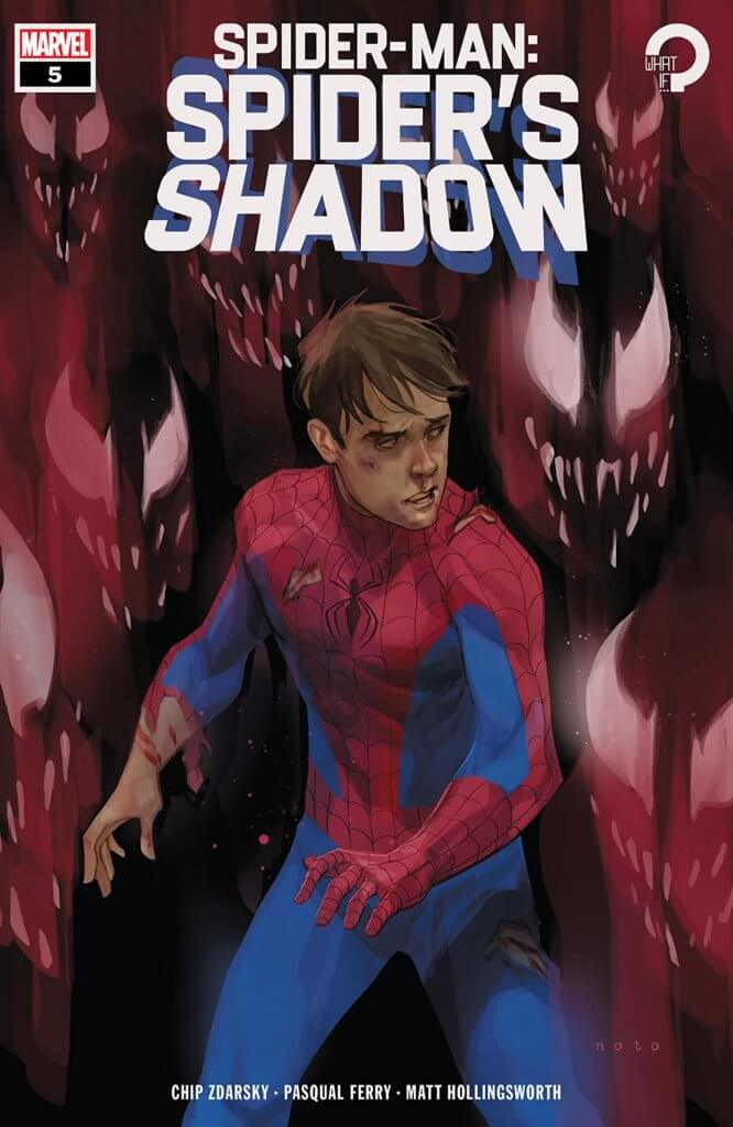 A weary Peter Parker - a brown-haired white man with shadowed eyes - stands wearing his blue and red spider-man oufit, minus the hood. The costume is torn, and his face is bruised. He look wearily over his shoulder at a half-dozen venom faces, which laugh eerily at him with their many-fanged faces