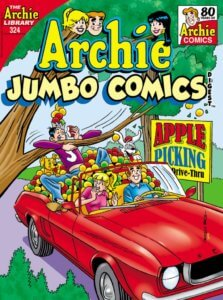 Archie Andrews - a redheaded teenager in a blue turtleneck drives a red convertible down a peaceful suburban street lined with trees. Beside him is blonde, ponytail wearing Betty Cooper sits beside him in a pink sweater. They react in amusement to their friend Jughead jones, who is wearing a fool's cap and a purple sweater and jeans, and is eating one of the many apples which spill over the sides and into the front seat of the car. There's a yellow sign with blue and red letters behind them at a distance that advertises apple picking