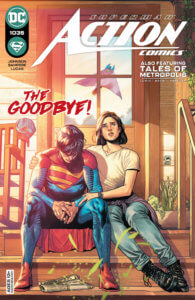Jon Kent and Lois Lane looking on sadly as Superman flies away from the Kent farm on Action Comics #1035 cover