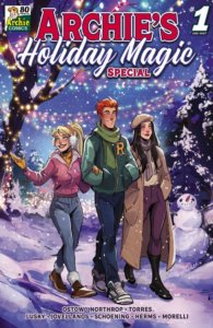 """Betty Cooper, a blonde white teenager with her hair in a ponytail, walks beside white redhead archie andrews and brunette veronica lodge. Berry wears jeans and a pink winter jacket and hat with white earmuffs, Archie wears jeans and a green turtleneck sweater with an """"R"""" emblem and green scarf, and veronica is dressed in a camel-colored beret and long coat with plum-colorred pants and a white sweater. They walk in a winter wonderland strung up with brightly colored lights and a snowman in the background"""