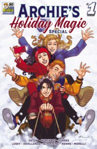 Jughead Jones, Archie Andrews, Betty Cooper and Veronica Lodge - a group of white teenagers wearing winter clothes - ride a toboggan down a snowy mountainside while looking delighted