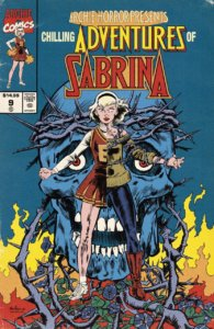Sabrina Spellman - a white-haired white-skinned teenager, stands before a blue skull with drooping eyes and a thorn crown. She is split down the middle - one half of her wears a scarlet cheerleading uniform with gold trim, the other a pea green tunic, chains, black tights and red boots. Flames sprout fromt he ground behind them.
