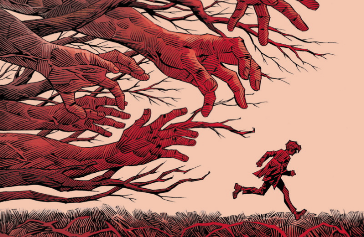 An image of a small red figure against a pale orange background. The figure is a teen boy is running away from a forest of large red hands reaching out for him.