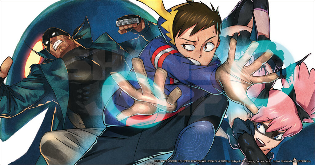 My Hero Academia: Vigilantes promotional image showing Crawler in his vigilante getup using his quirk against a backdrop of supporting characters.