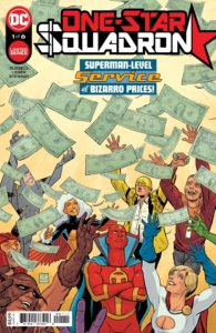 Several D-List DC heroes (and Red Tornado and Power Girl) grabbing for falling money