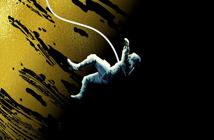 Detail from the cover to Project Hail Mary by Andy Weir (A person tethered by a rope floats or falls in a black void)