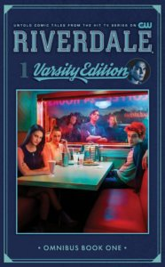 A cast photo of the actors from Riverdale, a bunch of white, good-looking teenagers in a dimly-lit diner