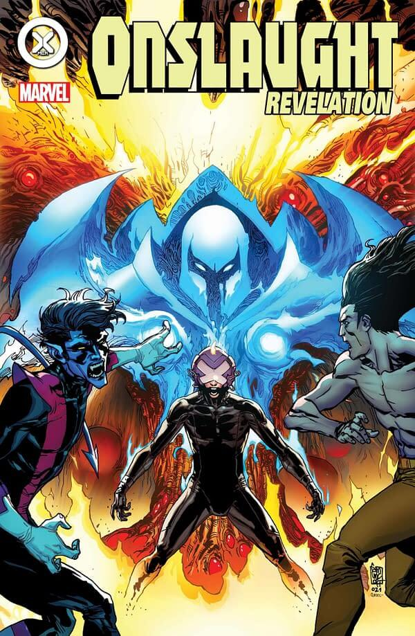 The blue aura of Onslaught rises above Charles Xavier as Nightcrawler and LEgion try to turn away