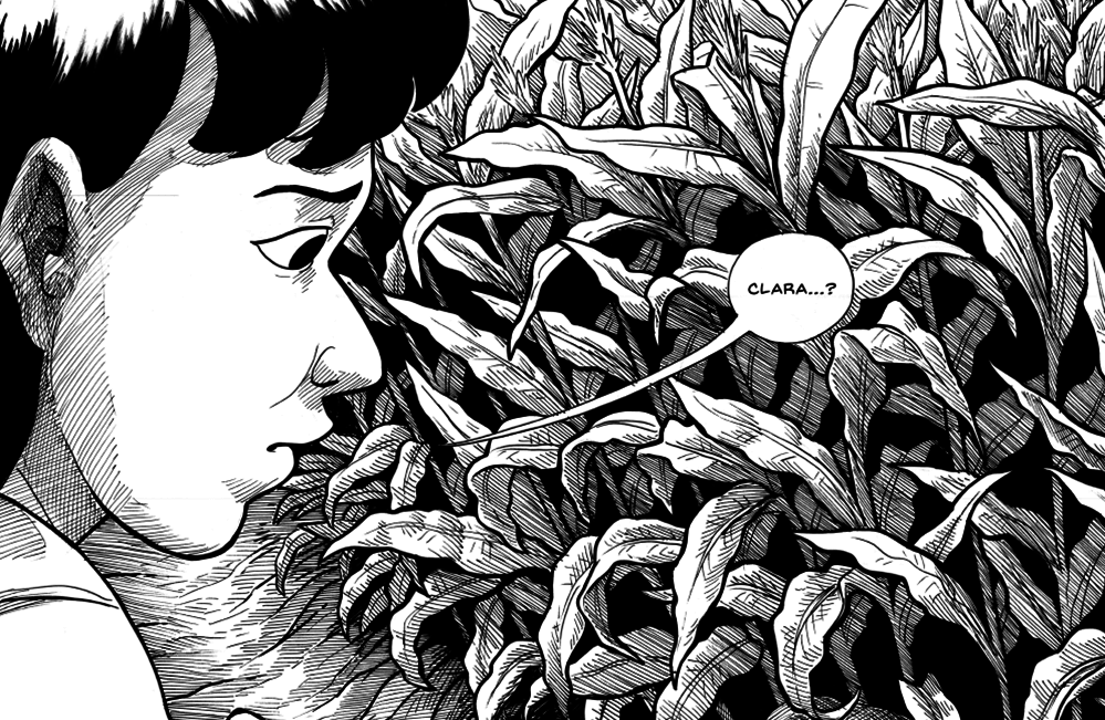 """A woman with black hair looks down while in a wheat field, saying """"Clara...?"""" in a speech bubble."""