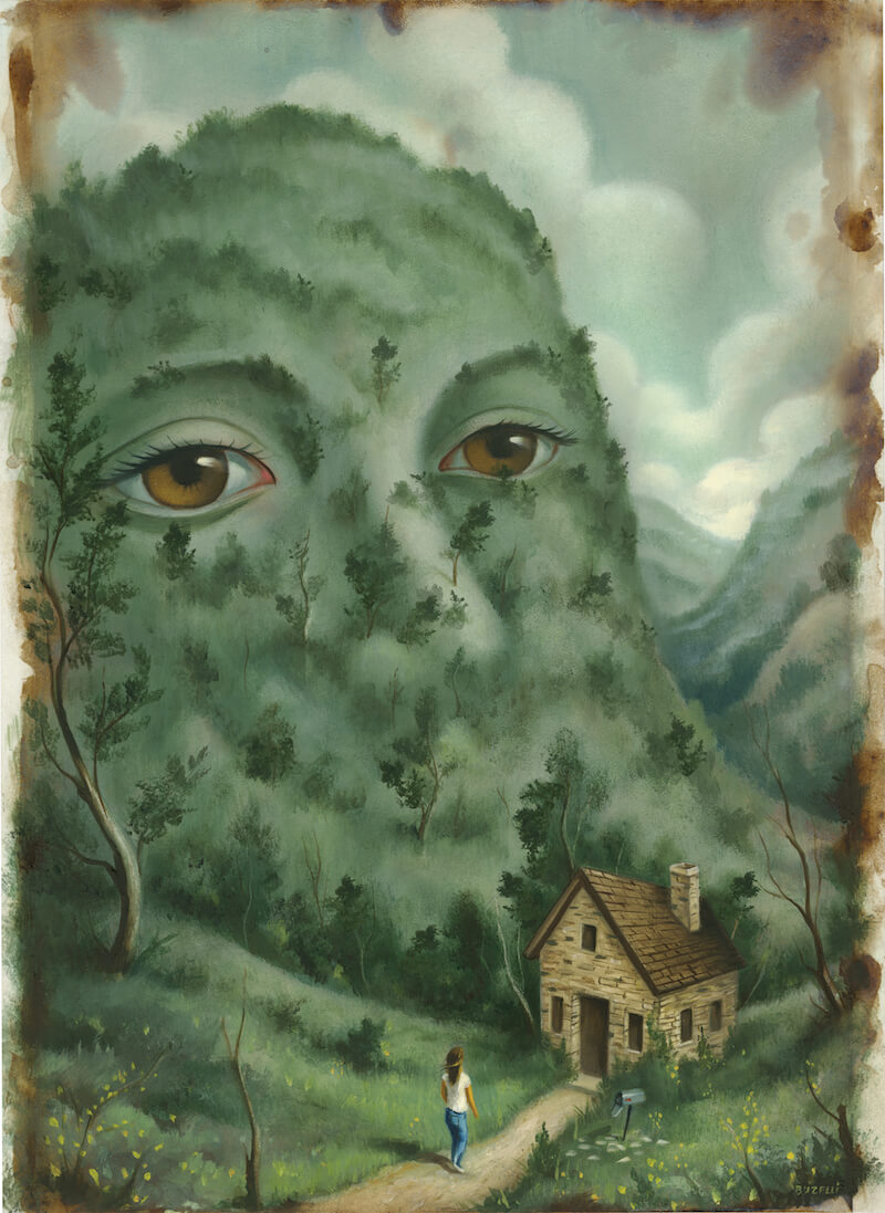 """Illustration by Chris Buzelli for Sarah Pinsker's story """"Two Truths and a Lie"""". A hill with a human face looks on as a woman approaches a small house."""
