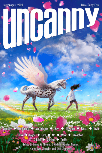 Cover of Uncanny Magazine issue 35. The illustration by Kirbi Fagan shows a woman alongside a winged unicorn.