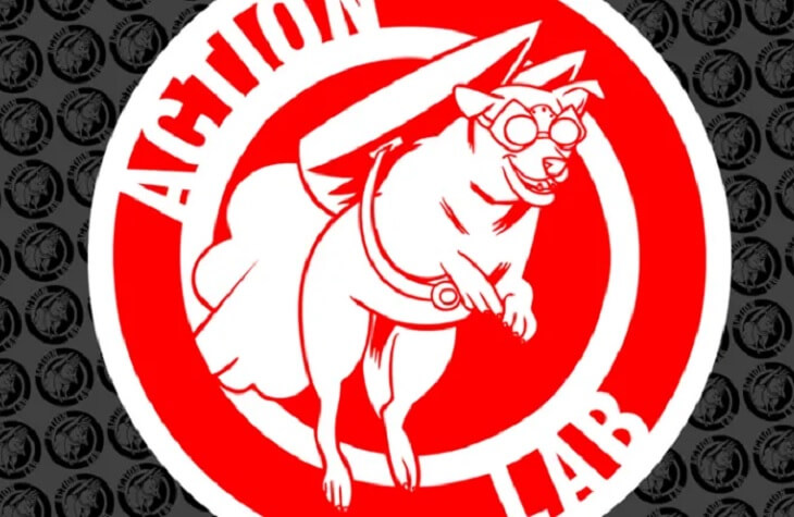 A cropped version of the Action Lab logo, a red and white circle with a white dog in goggles with a rocket strapped to its body, the rocket activated.