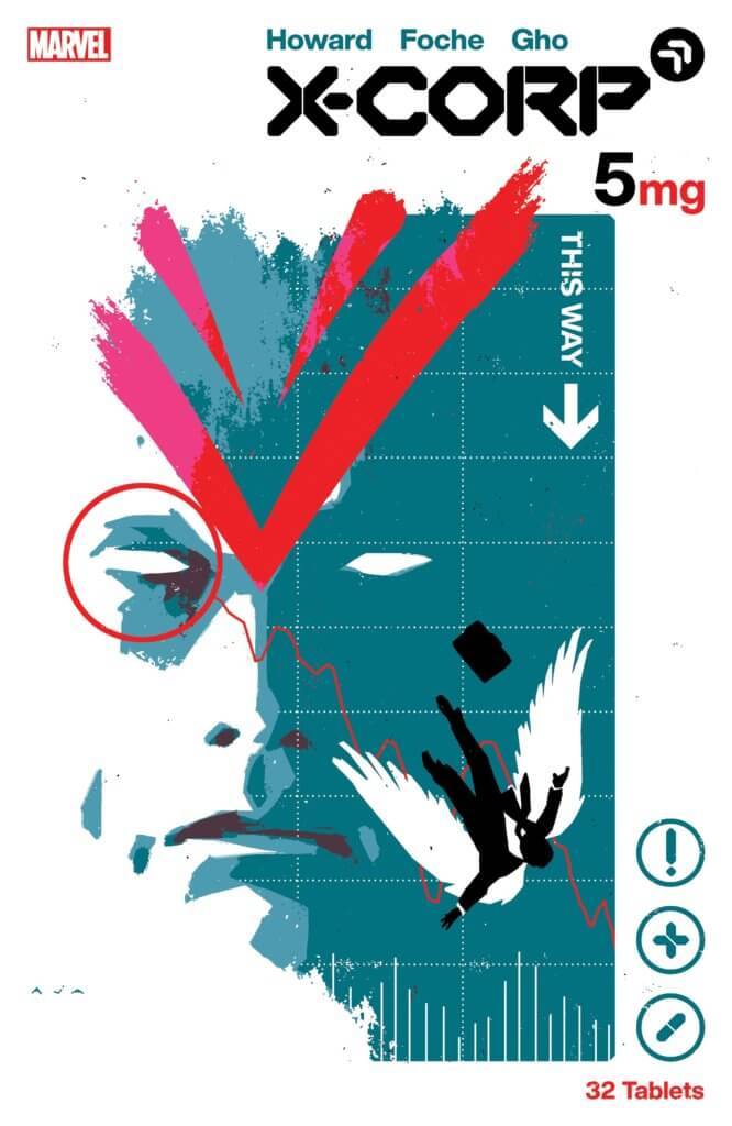 Cover of X-Corp #5 featuring a close up of Angel's face and an image of him in a suit, falling