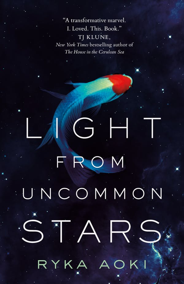 Light from Uncommon Stars by Ryka Aoki cover features a fishlike entity swimming in space
