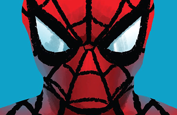 A detail of the Spider-Man mask; red hood, black webbing, expressive but blank white eyes - against a blue backdrop