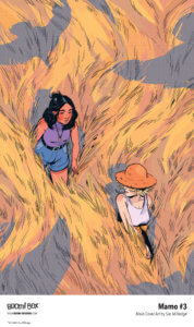 Cover art of Mamo #3, Two young girls one dark hair and brown skin, one pale wearing a hat walk through a field of golden grass with shadows of birds around them.