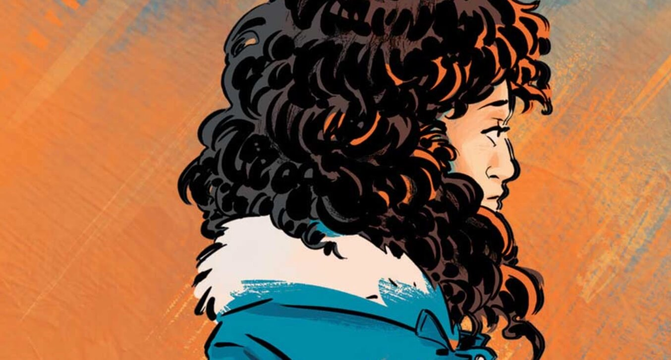 in this detail from the cover of Whistle, a teen with lots of hair is shown in profile