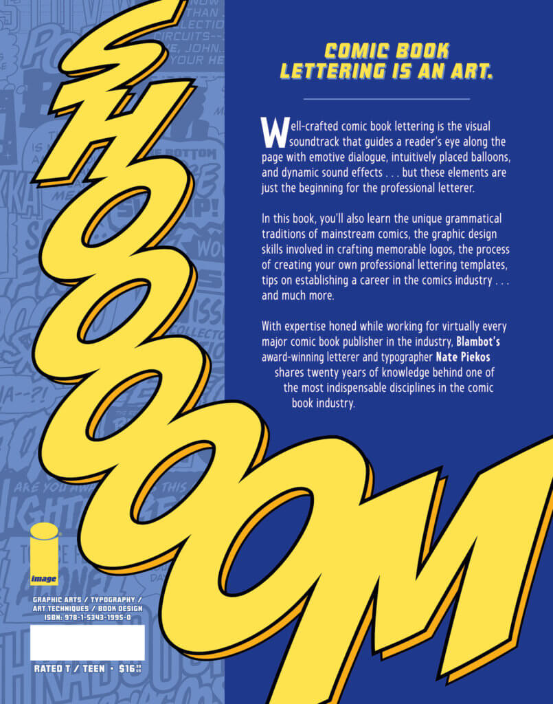 The back cover of the Essential Guide to Comic Book Lettering