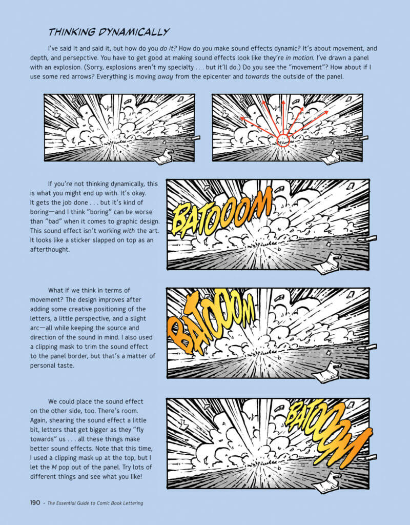 """A drawing of something exploring and the sound effect """"BATOOOM"""" bursting out of it from different angles"""