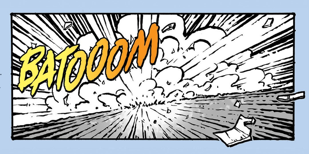 """A drawing of something exploring and the sound effect """"BATOOOM"""" bursting out of it"""